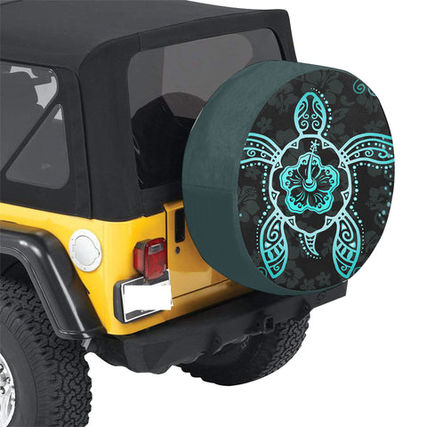 Turtle Hibiscus Blue Spare Tire Cover AH J1 - Alohawaii