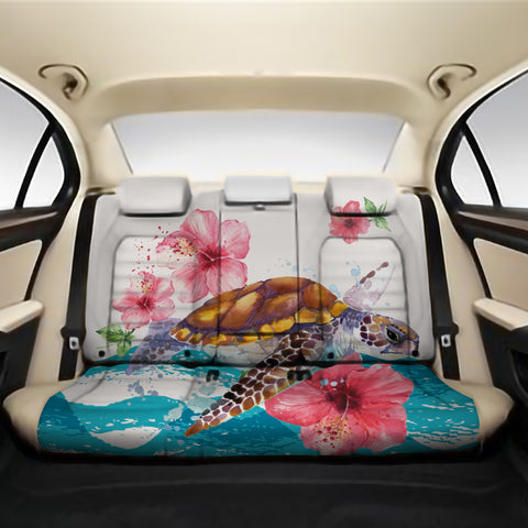 Turtle Hibiscus On Wale Back Seat Cover AH A0 - Alohawaii