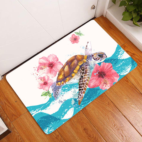 Image of Turtle Hibiscus On Wale Door Mat AH A0 - Alohawaii
