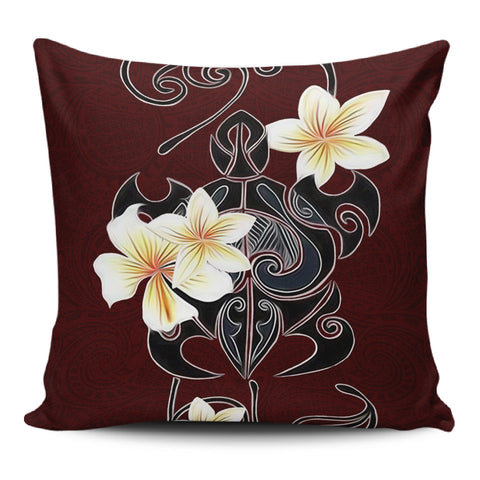 Turtle Poly Tribal Plumeria Red Pillow Covers - AH - J1 - Alohawaii