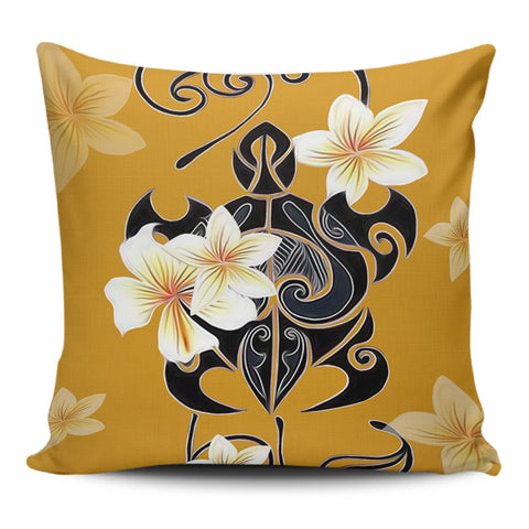 Turtle Poly Tribal Plumeria Yellow Pillow Covers - AH - J1