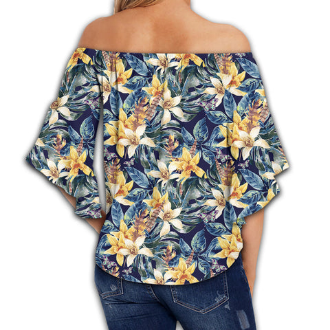 Vintage Floral Women's Off Shoulder Wrap Waist Top - AH - J4