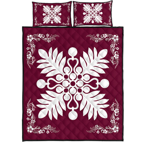 Hawaiian Quilt Maui Plant And Hibiscus Pattern Quilt Bed Set - White Burgundy