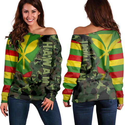 Kanaka Flag Camo Pattern Women's Off Shoulder Sweater - Chad Style