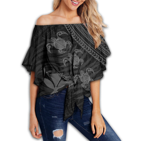 Hawaii Kanaka Turtle Fern Leaves Polynesian Women's Off Shoulder Wrap Waist Top - Quini Style - AH - J2