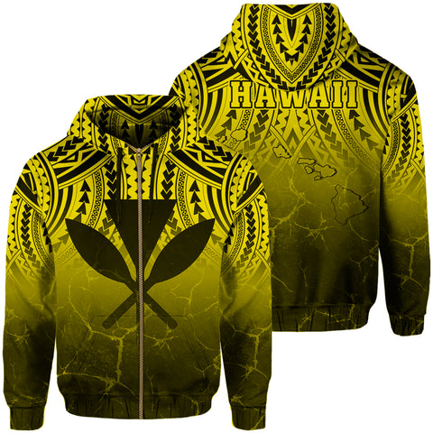 Hawaii Polynesian Kanaka Map Eruption Hoodie Zip - Roman Style - Yellow - AH - J6 - Alohawaii
