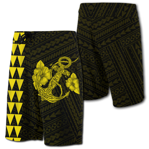 Hawaii Kakau Polynesian Anchor Board Shorts - Yellow - AH - J6 - Alohawaii