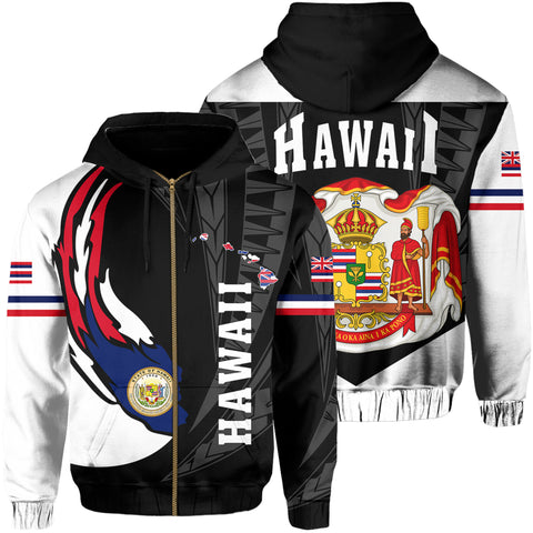 Image of Hawaii Polynesian Coat Of Arms Hoodie Zip - Ball Style - AH - J6 - Alohawaii