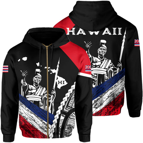 Hawaii Map Polynesian King Kamehameha Hoodie Zip - Black - AH - J6