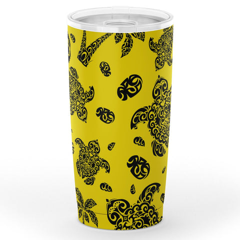 Image of Hawaii Polynesian Turtle Palm And Sea Pebbles Yellow Tumbler