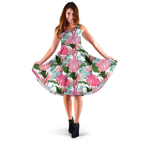 Hawaii Pink Monstera And Green Tropical Leaves White Midi Dress   - AH - J71