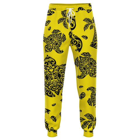 Image of Polynesian Turtle Palm And Sea Pebbles Yellow Joggers