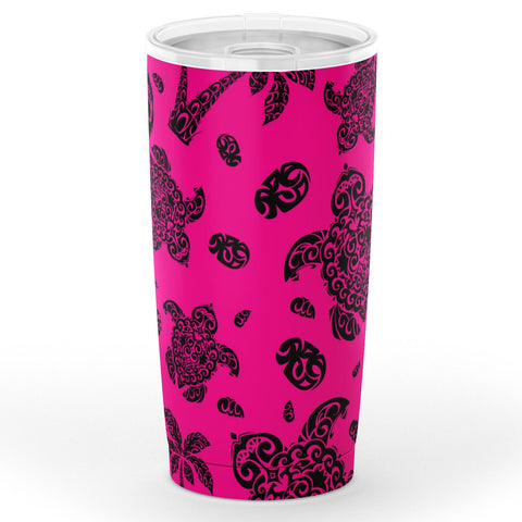 Hawaii Polynesian Turtle Palm And Sea Pebbles Pink Tumbler