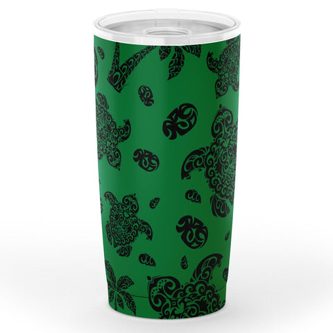 Image of Hawaii Polynesian Turtle Palm And Sea Pebbles Green Tumbler