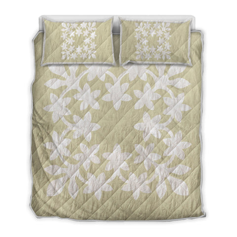 Hawaiian Royal Pattern Quilt Bed Set - Beige And White - L3 Style - AH - J2