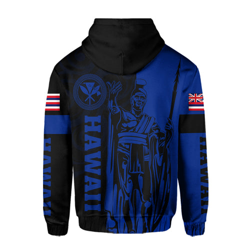 Image of Hawaii King Polynesian Hoodie (Zip-up) - Lawla Style Blue - AH - J4