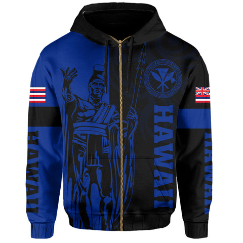 Hawaii King Polynesian Hoodie (Zip-up) - Lawla Style Blue - AH - J4