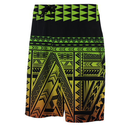 Image of Hawaii Kakau Polynesian - Board Shorts - Green - Haka Style - AH - J2 - Alohawaii
