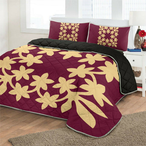 Hawaiian Royal Pattern Quilt Bed Set - Burgundy - L3 Style - AH - J2