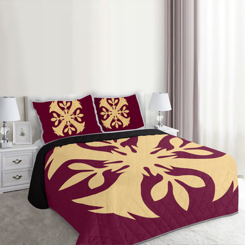 Hawaiian Royal Pattern Quilt Bed Set - Burgundy - F3 Style - AH - J2
