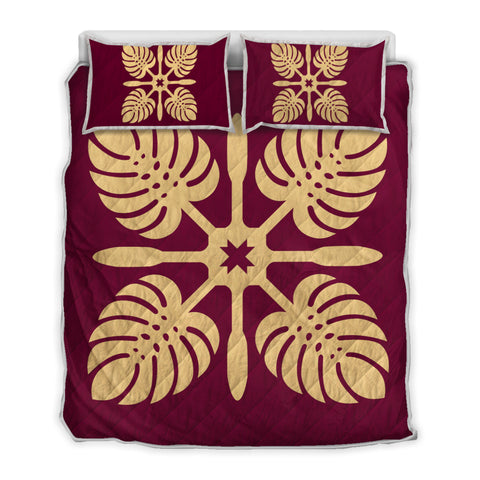 Hawaiian Royal Pattern Quilt Bed Set - Burgundy - I3 Style - AH - J2