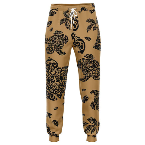 Image of Polynesian Turtle Palm And Sea Pebbles Gold Joggers