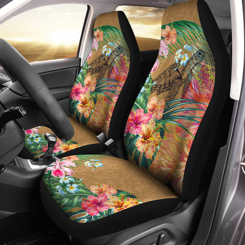 Hawaii Turtle Hibiscus Polynesian Gold Car Seat Cover - Moon Style - AH - JA