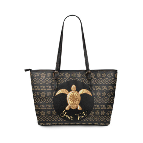 Personalized - Hawaii Turtle Golden Pattern Small Leather Tote Bag - AH - J4 - Alohawaii