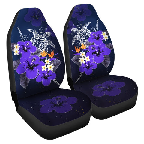 Hawaii Turtle Purple Hibiscus Polynesian Car Seat Covers - Anne Style - AH - J2