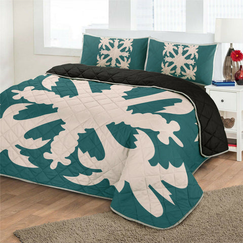 Hawaiian Royal Pattern Quilt Bed Set - Cyan - H1 Style - AH - J2