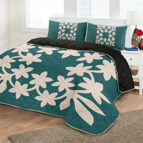 Hawaiian Royal Pattern Quilt Bed Set - Cyan - L3 Style - AH - J2