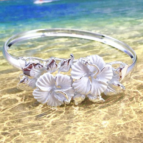 Sterling Silver Hibiscus Bangle - AH - J7 - Alohawaii