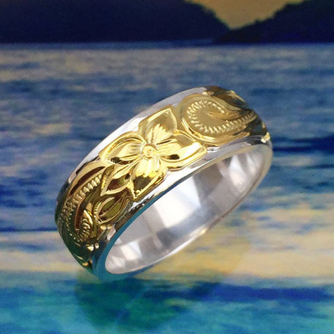 Sterling Silver & Yellow Gold Hawaiian Ring - AH - J7 - Alohawaii