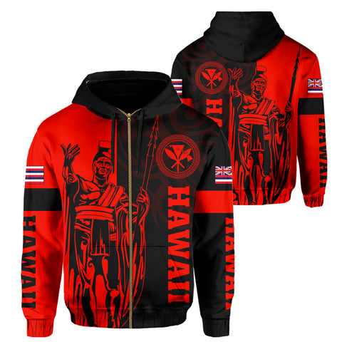 Hawaii King Polynesian Hoodie (Zip-up) - Lawla Style Red - AH - J4