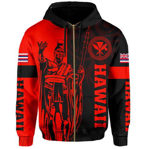 Image of Hawaii King Polynesian Hoodie (Zip-up) - Lawla Style Red - AH - J4