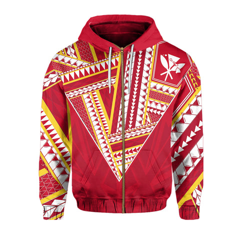Hawaii Hoodie Zip - Football Jersey Style - Red And Yellow - AH - J4
