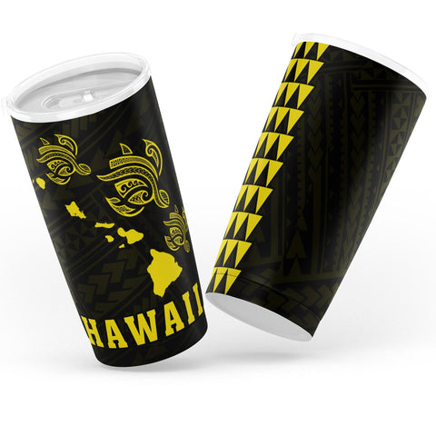 Kakau Polynesian Three Turtles Map Hawaii Tumbler - Yellow - AH - J6 - Alohawaii