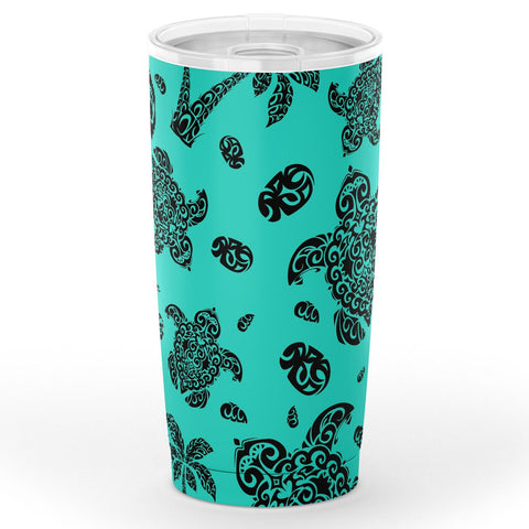 Image of Hawaii Polynesian Turtle Palm And Sea Pebbles Turquoise Tumbler