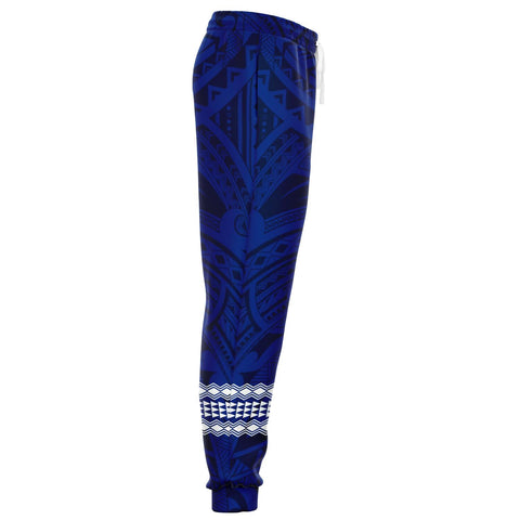 Image of Hawaii Warrior Map Blue Kakau Joggers - AH - J1
