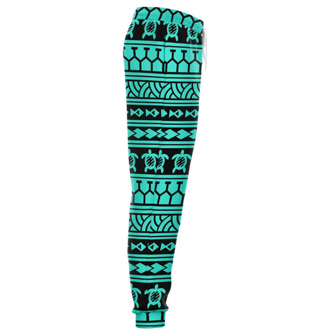 Image of Polynesian Tattoo Tribal Turquoise Joggers - AH - J1