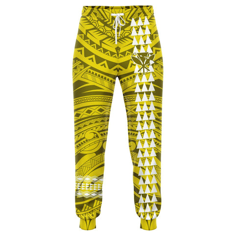 Image of Hawaii Kanaka Map Yellow Kakau Joggers