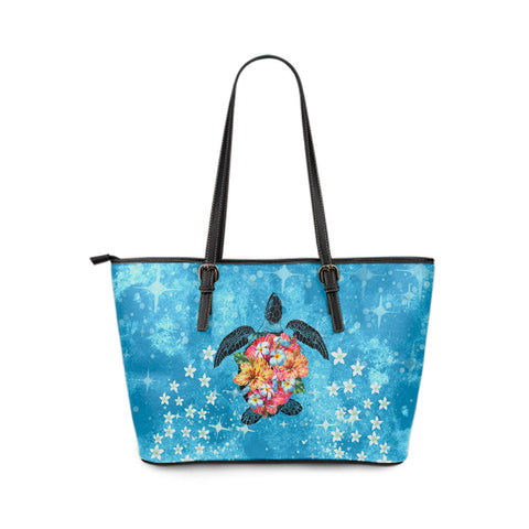 Personalized - Hawaii Turtle Hibiscus Plumeria Blue Large Leather Tote Bag - AH - J4 - Alohawaii