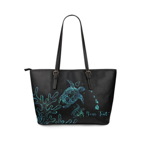 Personalized - Hawaii Turtle Ohana Paua Shell Small Leather Tote
