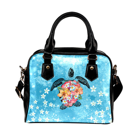 Image of Personalized - Hawaii Turtle Hibiscus Plumeria Blue Shoulder Handbag - AH - J4 - Alohawaii