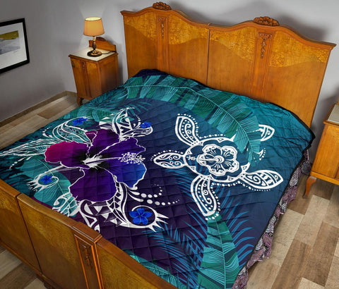 Alohawaii Premium Quilt - Hawaii Turtle Flowers And Palms Retro - AH J8 - Alohawaii