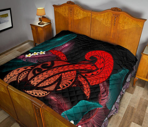 Image of Hawaii Turtle Polynesian Tropical Premium Quilt - Ghia Style Red - AH - J4