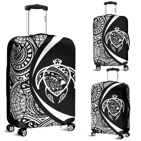Hawaii Turtle Map Polynesian Luggage Cover - White - Circle Style - AH J9 - Alohawaii