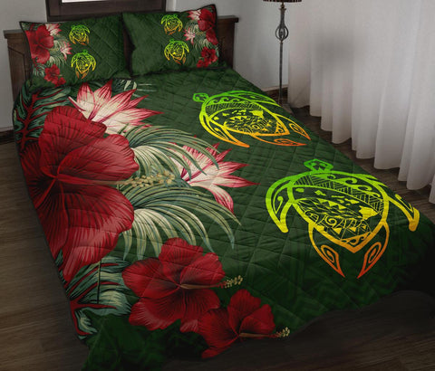 Hawaii Quilt Bed Set - Turtle Hibiscus Pattern Hawaiian Quilt Bed Set