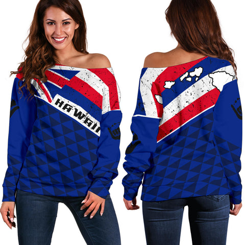 Hawaii Old Flag Women's Off Shoulder Sweater