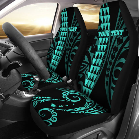 Personalized Hawaii Car Seat Covers Kakau Large Polynesian Turquoise